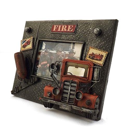 Porta-Retrato Placa Fire Oldway Preto em Metal - 23x18 cm