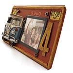 Porta-Retrato Placa / Kombi Oldway Vermelha em Metal -  26x15 cm