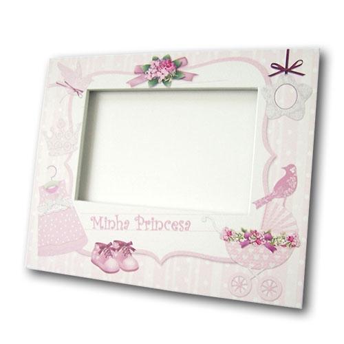 Porta-Retrato Princesa Rosa e Branco em MDF - 24x19 cm