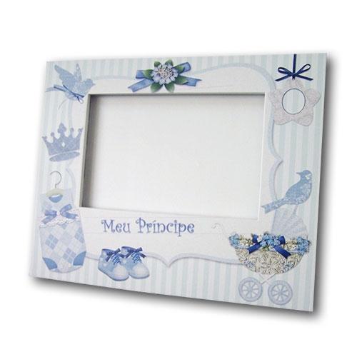 Porta-Retrato Meu Príncipe Azul e Branco em MDF - 24x19 cm