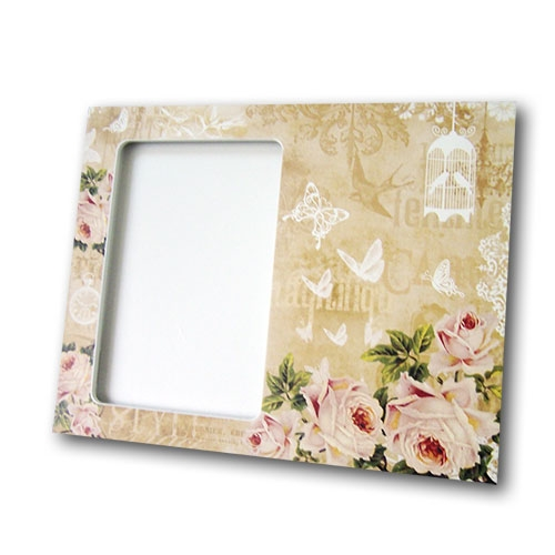 Porta-Retrato Rosas do Jardim Bege - Foto 10x15 cm - em MDF - 24x19 cm