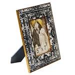 Porta-Retrato Seda Arabescos Preto/Branco em Metal e Madeira