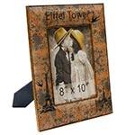 Porta-Retrato Eiffel Tower Oldway Laranja em Metal e Madeira