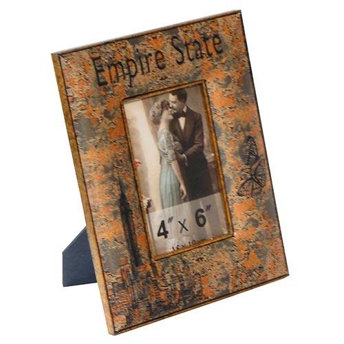Porta-Retrato Empire State Oldway Laranja em Metal e Madeira - 24x18 cm