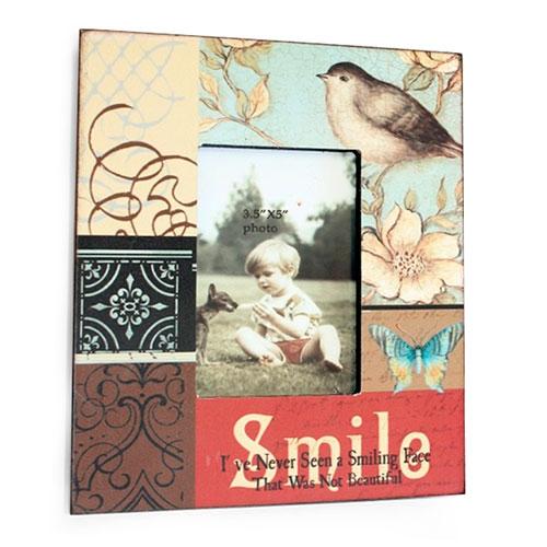 Porta Retrato Smile em Madeira - 22x19 cm