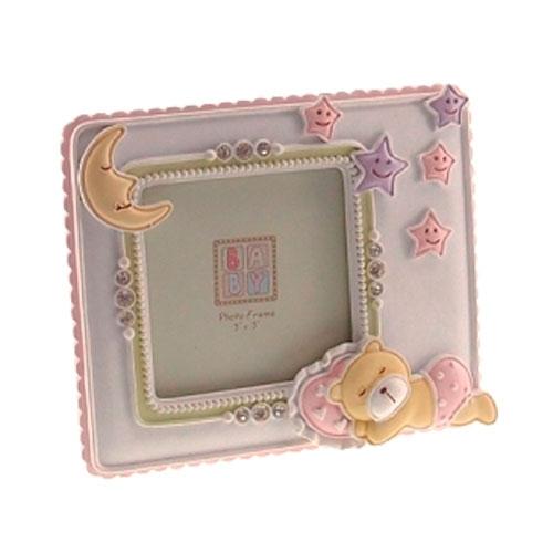 Porta Retrato Ursinho Rosa em Resina - 14x12 cm