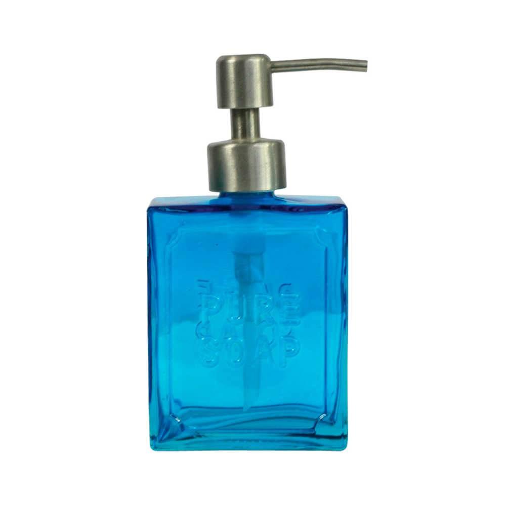 Porta Sabonete Líquido Pure Soap Azul em Vidro - Urban - 16,5x8 cm