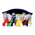 Porta Taças de Vinho Garrafas de Vidro Coloridas - 4 Taças - em MDF - 30x23 cm