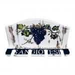 Porta Taças de Vinho Vino di Toscana Branco - 4 Taças - em MDF - 30x23 cm