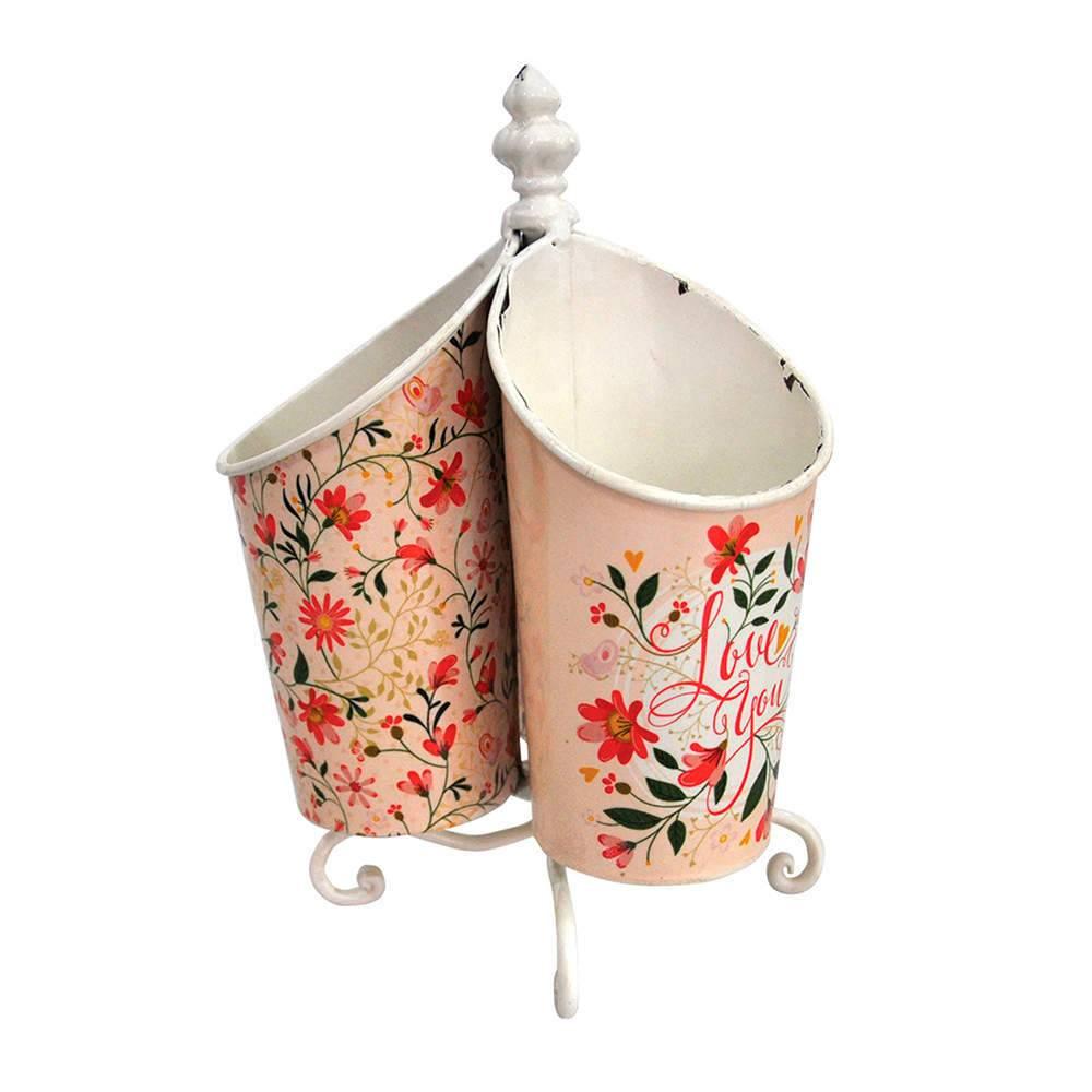 Porta Talher Romance Flowers em Metal - Urban - 21x15,5 cm