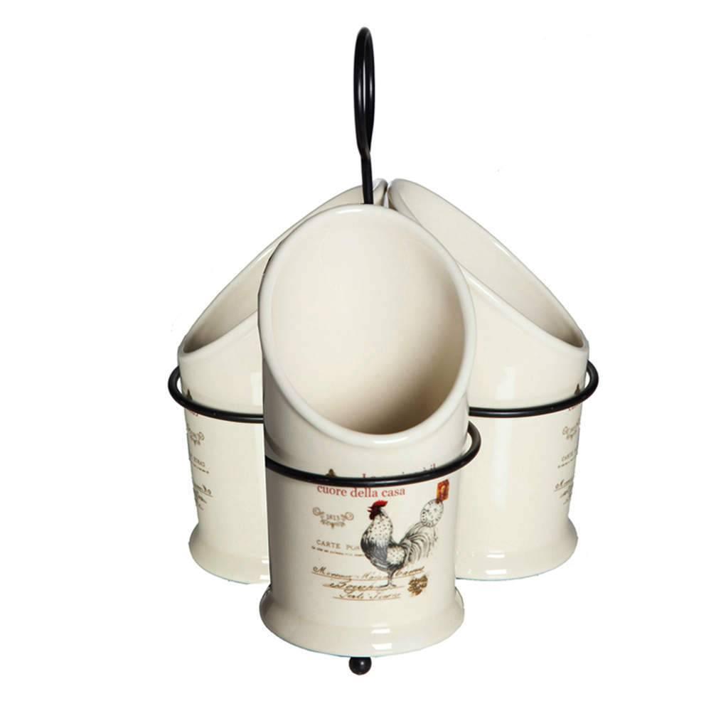 Porta Talheres Rooster Branco em Cerâmica - Urban - 23x17,5 cm