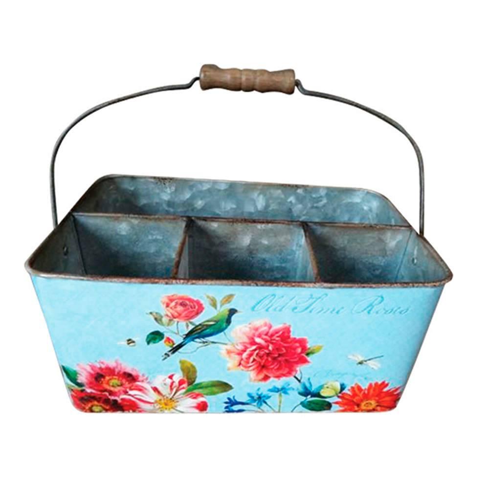 Porta talheres Sweet Flowers Azul em Metal - Urban - 25,5x16 cm