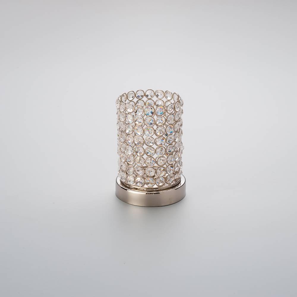Castiçal Luxo - A Pilha - em Alumínio e Cristais - Delhi Wolff - 17,5x12 cm