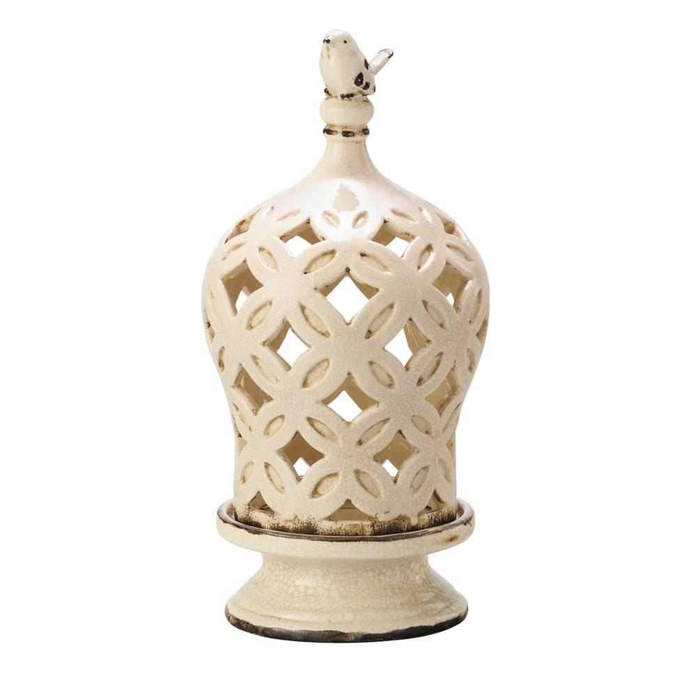 Porta Vela Antique com Cúpula Creme Pátina em Cerâmica - Lyor Classsic - 30,8x14,8 cm