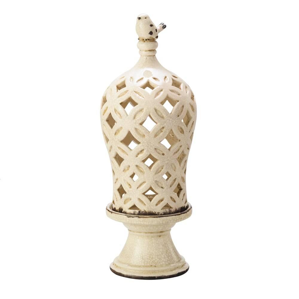 Porta Vela Antique com Cúpula Creme Pátina em Cerâmica - Lyor Classsic - 40,2x14,7 cm