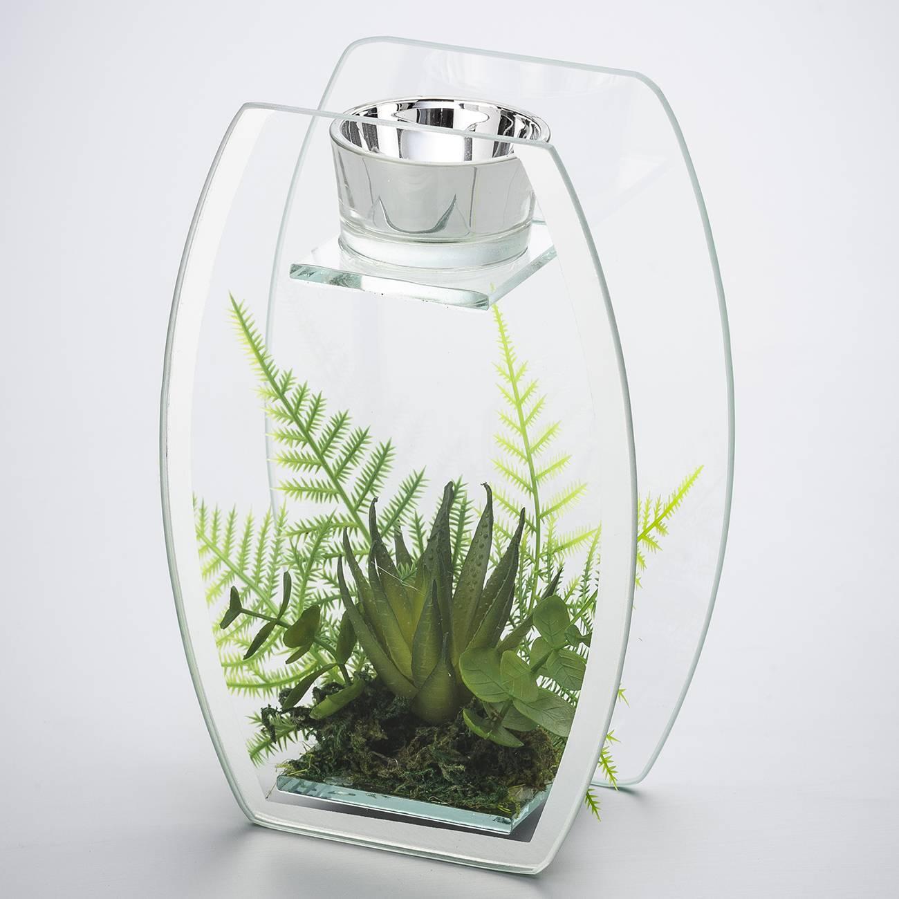 Castiçal Espelhado com Plantas em Vidro - Prestige - 18x12 cm