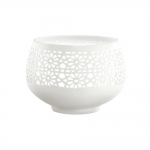 Porta Vela Flower Branco em Porcelana - 10x7 cm
