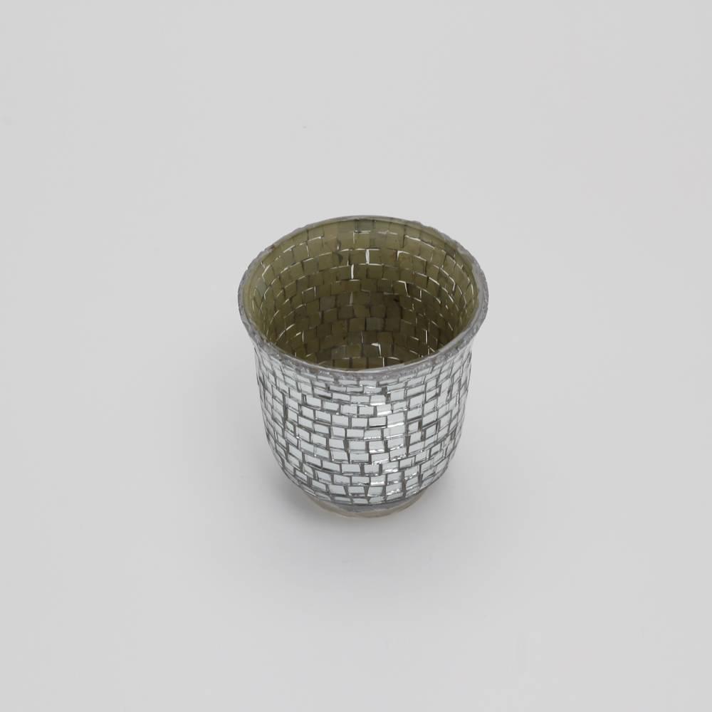 Castiçal Hurricane Mosaic Prata Pequeno em Vidro - Prestige - 8 cm