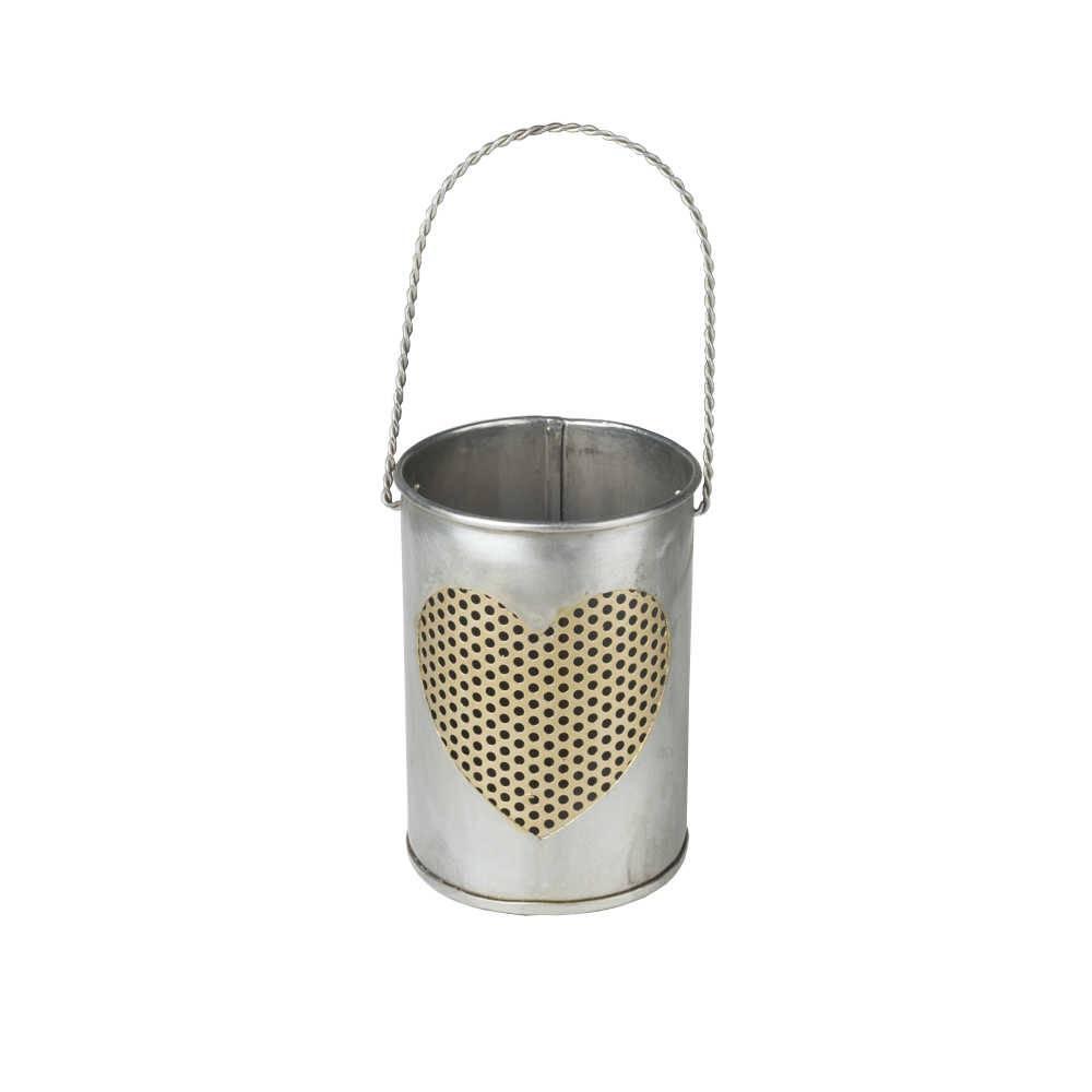 Porta Vela Latinha com Coração Vazado em Ferro Galvanizado - Lyor Classic - 20x16 cm