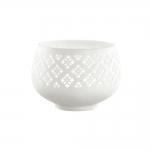 Porta Vela Quadriculate Branco em Porcelana - 10x7 cm