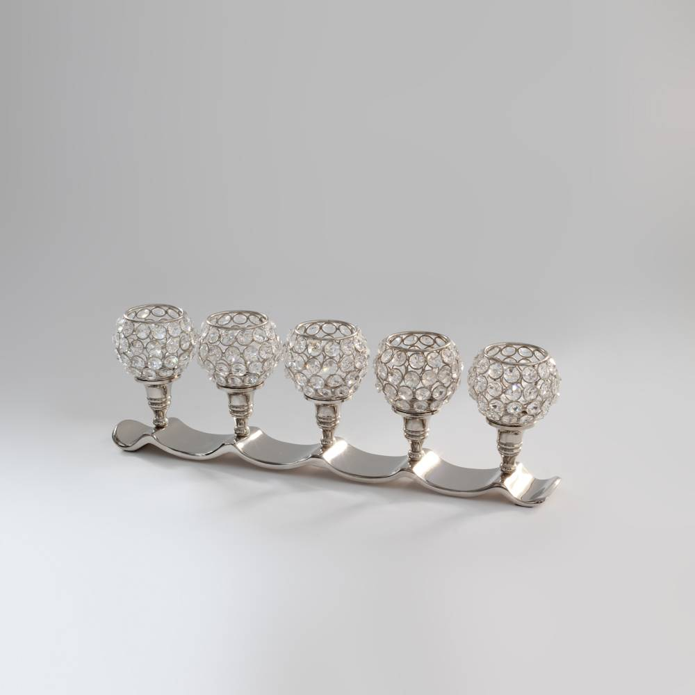 Castiçal Luxo para 5 Velas em Cristais - Delhi Wolff - 48x15 cm