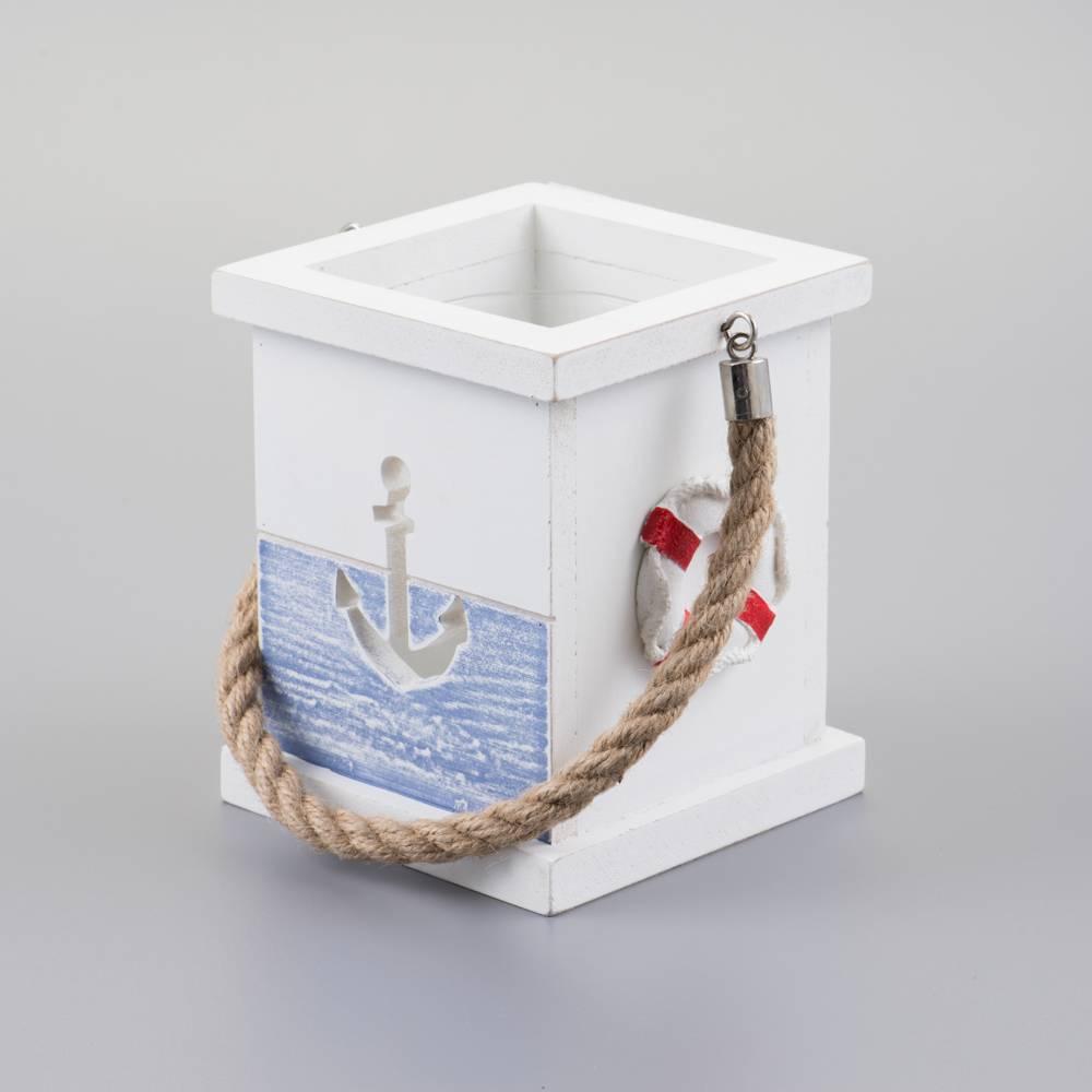 Porta Velas Náutico em Madeira c/ Detalhes em Resina e Alça em Corda - Prestige - 14,5x12,4 cm