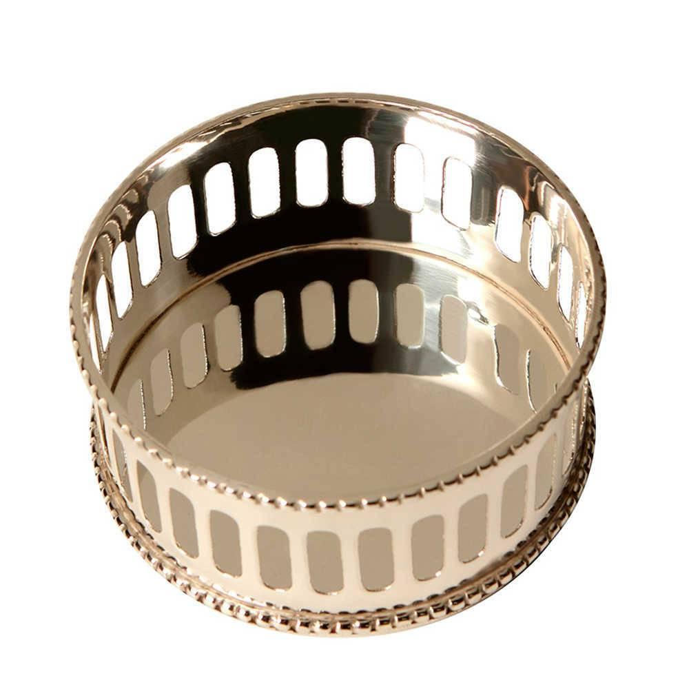 Porta Vinhos Muraj em Metal Vazado com Banho de Prata - 13x7 cm