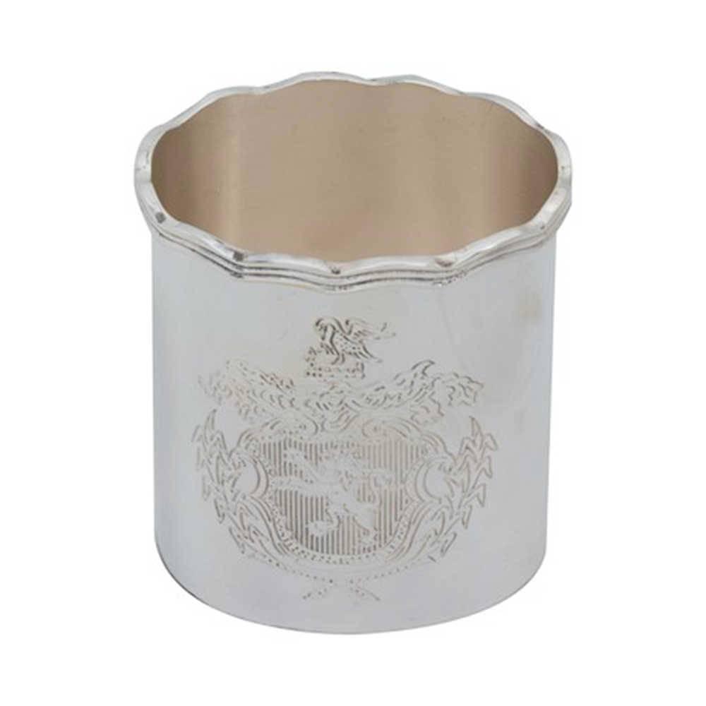 Porta-Canetas Tripudium em Metal com Banho de Prata - 10x9 cm