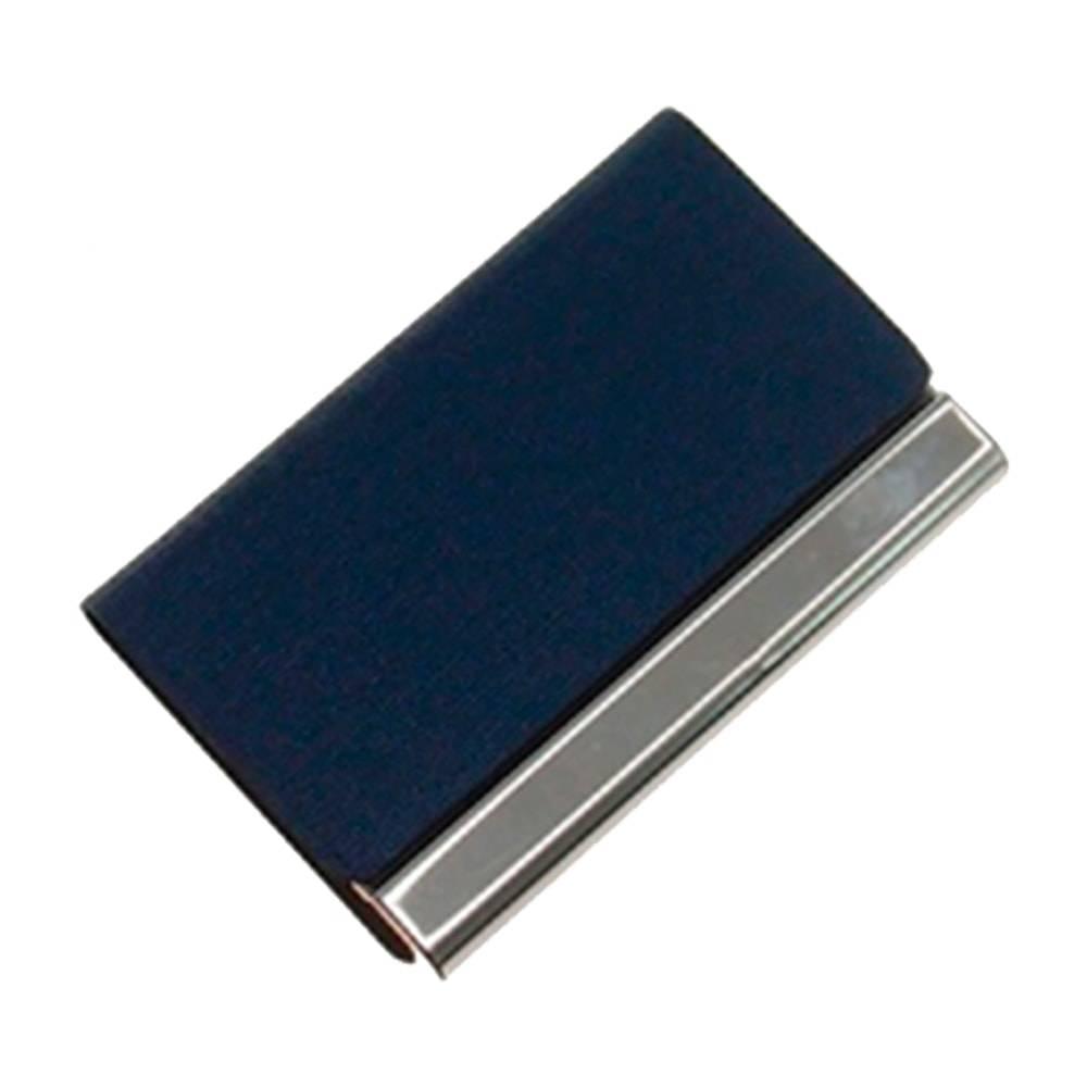Porta-Cartão Azul Marinho em Couro Ecológico e Inox - 10x6 cm