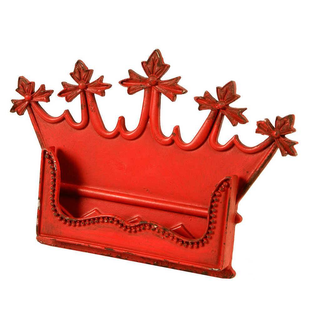 Porta-Cartão Coroa Vermelho Pátina em Metal - 15x11 cm