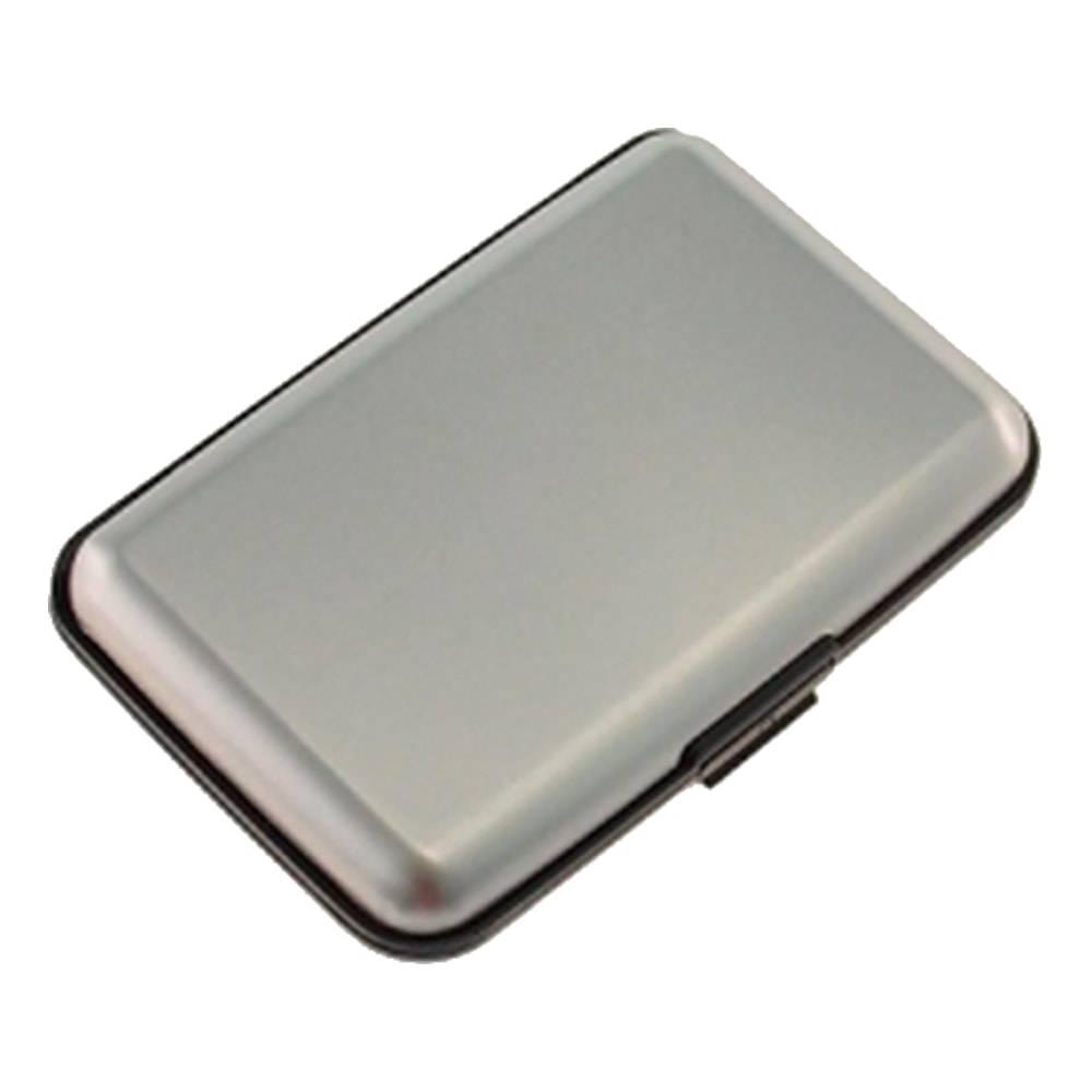 Porta-Cartão Dezz Prata Liso com Divisórias Internas - 11x8 cm