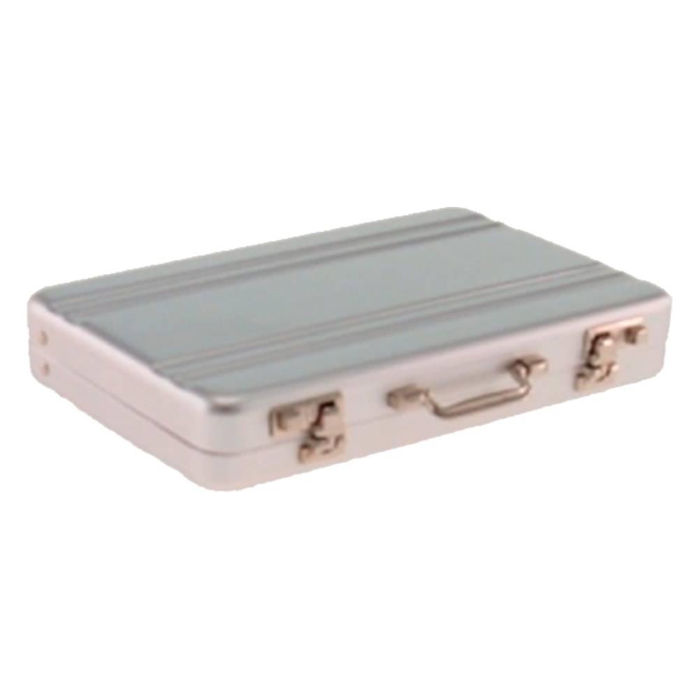Porta-Cartão Mala Prata em Inox - 10x7 cm