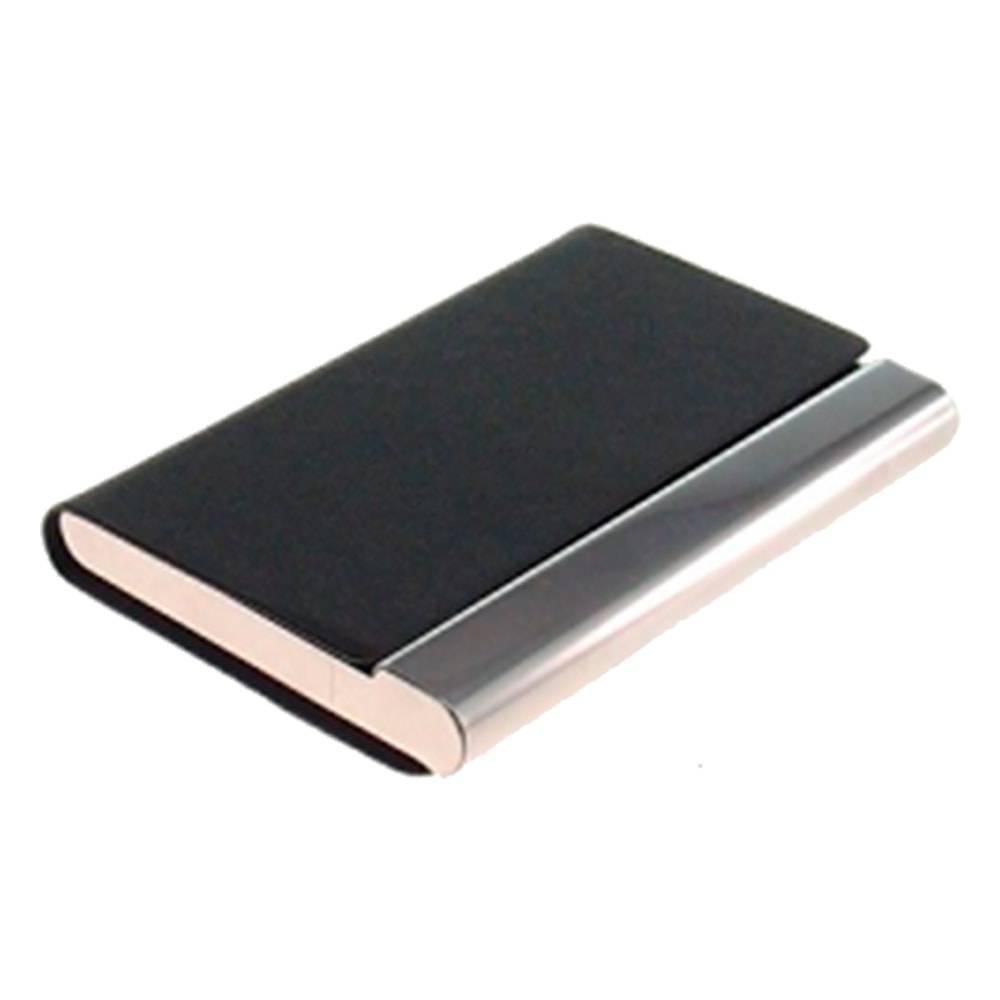 Porta-Cartão Preto em Couro Ecológico e Inox - 10x6 cm