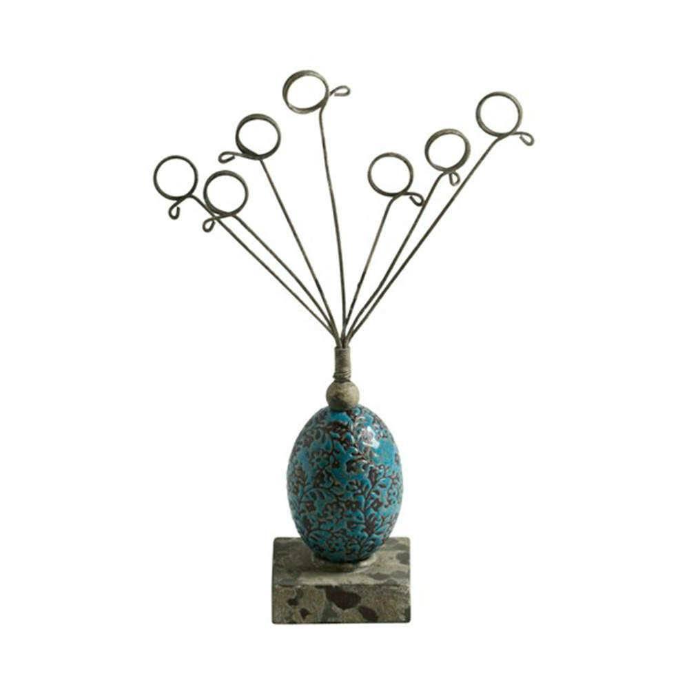 Porta-Cartão Vase Azul em Resina e Metal - 27x14 cm
