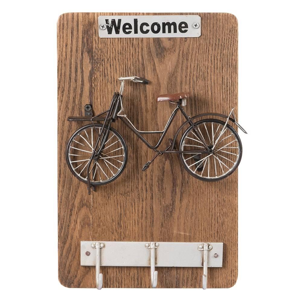 Porta-Chaves 3 Ganchos c/ Detalhe de Bicicleta em MDF - 38x23 cm