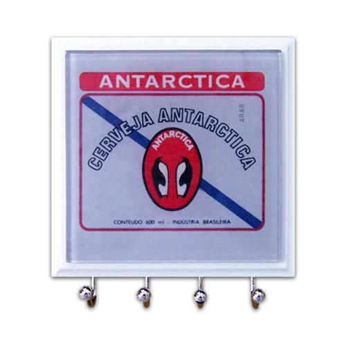 Porta-Chaves - 4 Ganchos - Antarctica Pinguim em Vidro - 11x11 cm