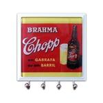 Porta-Chaves - 4 Ganchos - Brahma Garrafa em Vidro - 11x11 cm
