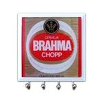 Porta-Chaves - 4 Ganchos - Brahma Rótulo em Vidro - 11x11 cm
