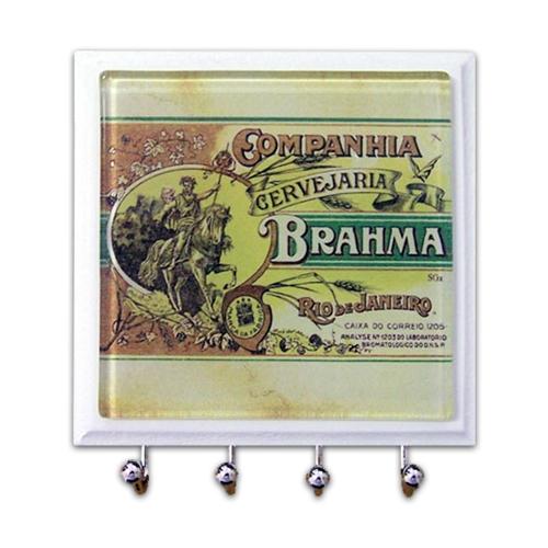 Porta-Chaves - 4 Ganchos - Companhia Brahma em Vidro - 11x11 cm