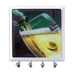 Porta-Chaves - 4 Ganchos - Copo de Heineken em Vidro - 11x11 cm