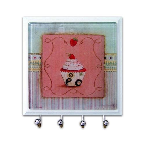 Porta-Chaves - 4 Ganchos - Cupcake em Vidro - 11x11 cm