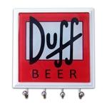 Porta-Chaves - 4 Ganchos - Duff Beer em Vidro - 11x11 cm
