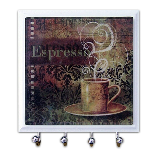 Porta-Chaves - 4 Ganchos - Espresso em Vidro - 11x11 cm