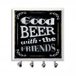 Porta-Chaves - 4 Ganchos - Good Beer Preto em Vidro - 11x11 cm