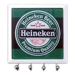 Porta-Chaves - 4 Ganchos - Heineken Rótulo em Vidro