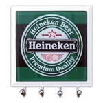 Porta-Chaves - 4 Ganchos - Heineken Rótulo em Vidro - 11x11 cm