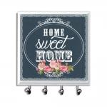 Porta-Chaves - 4 Ganchos - Home Sweet Home Preto em Vidro - 11x11 cm