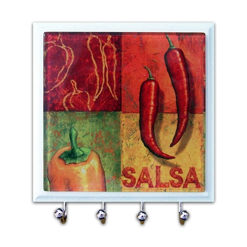 Porta-Chaves - 4 Ganchos - Salsa em Vidro - 11x11 cm