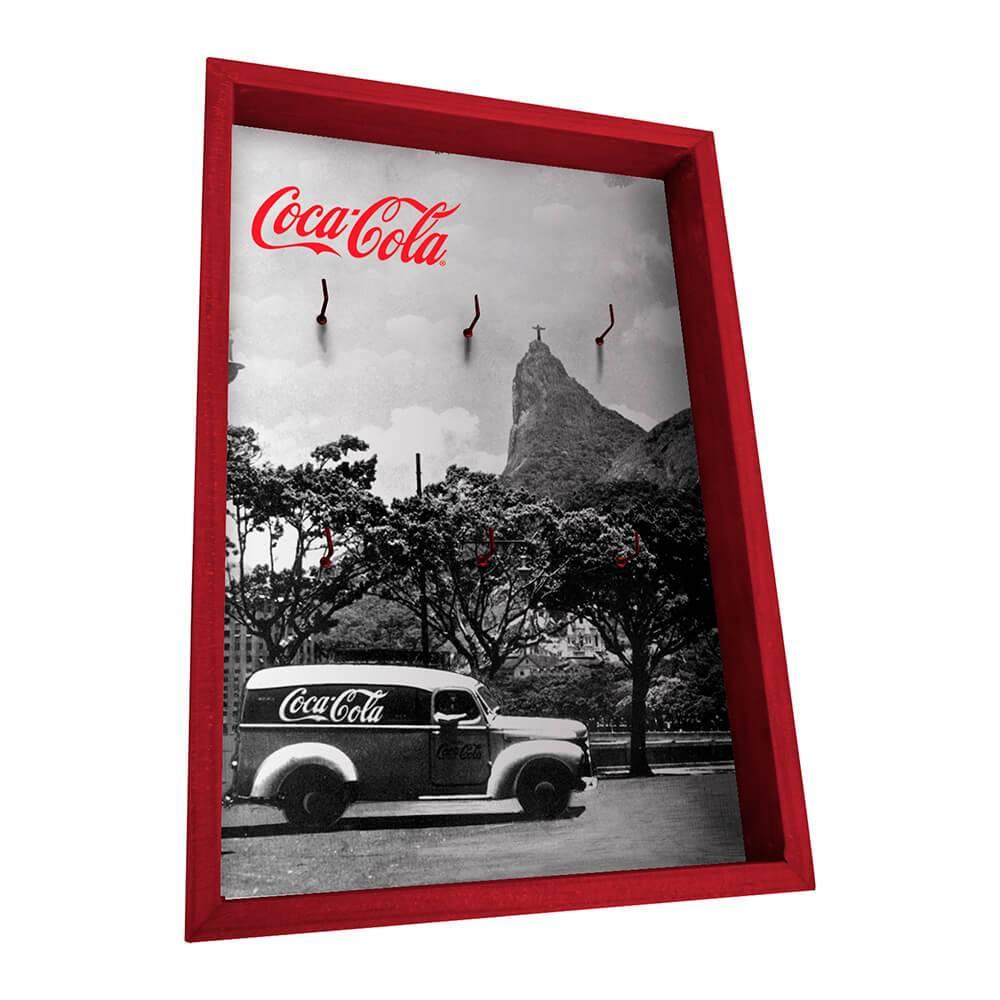 Porta-Chaves 6 Ganchos Coca-Cola Landscape Rio de Janeiro Preto e Branco em Madeira - Urban - 31x21 cm