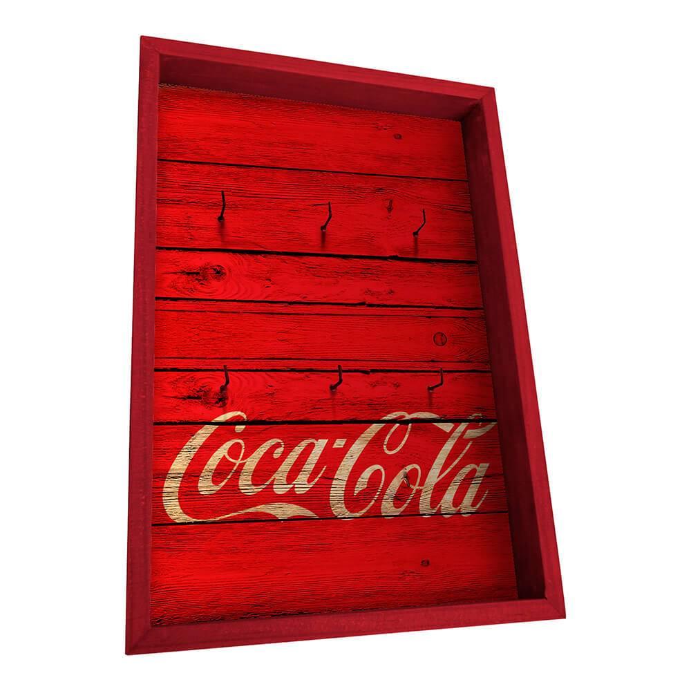 Porta-Chaves 6 Ganchos Coca-Cola Wood Style Vermelho em Madeira - Urban - 31x21 cm